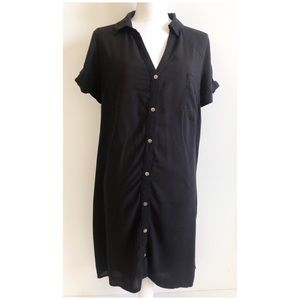 Forever 21 Button Down Shirt Dress Size S Black
